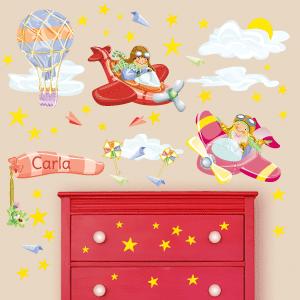 Vinil aviadores, balão e estrelas