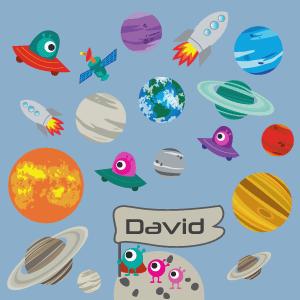 Vinil infantil planetas e foguetões