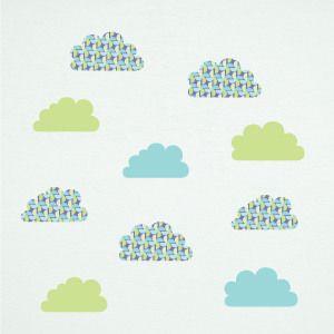 Vinil de nuvens verdes com moinhos